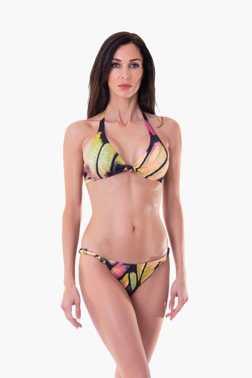 PRINTED BRALETTE BIKINI WITH KNOTS