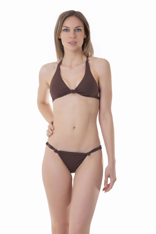 SOLID COLOUR BRALETTE BIKINI WITH KNOTS