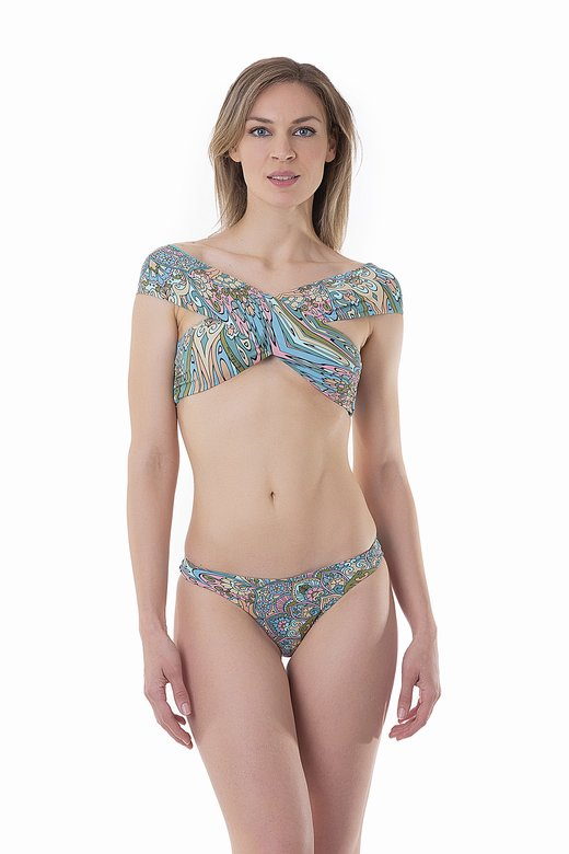 PRINTED FRONT WRAP BIKINI TOP WITH CROSSED BANDS