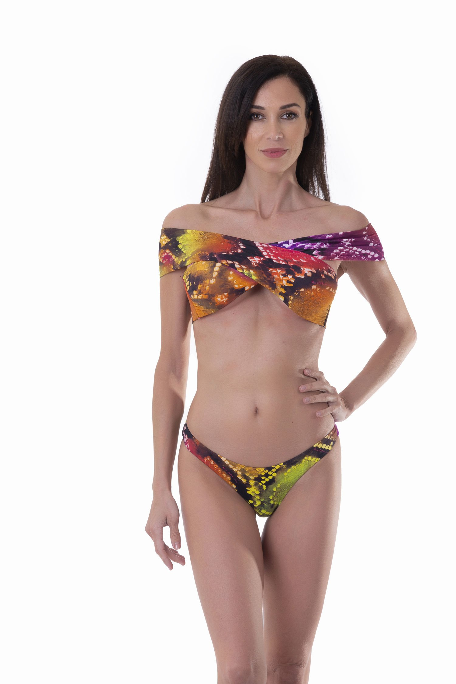 PRINTED FRONT WRAP BIKINI TOP WITH CROSSED BANDS - Pitone Fuxia