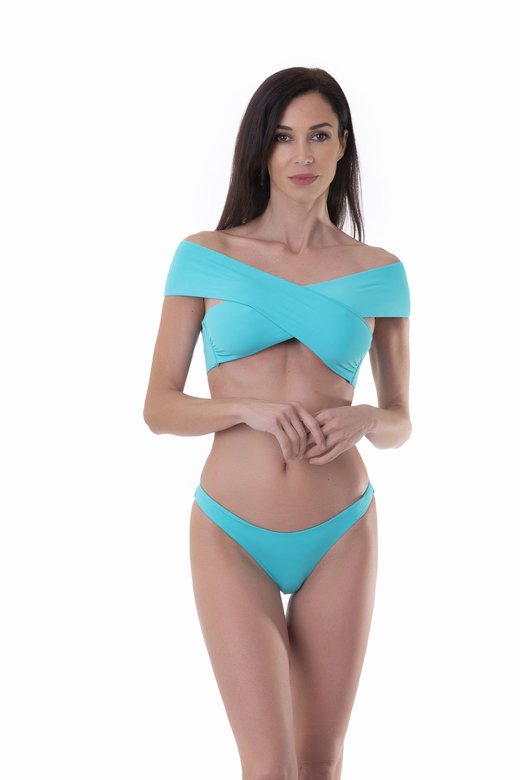 SOLID COLOUR BIKINI TOP WITH CROSSED BANDS
