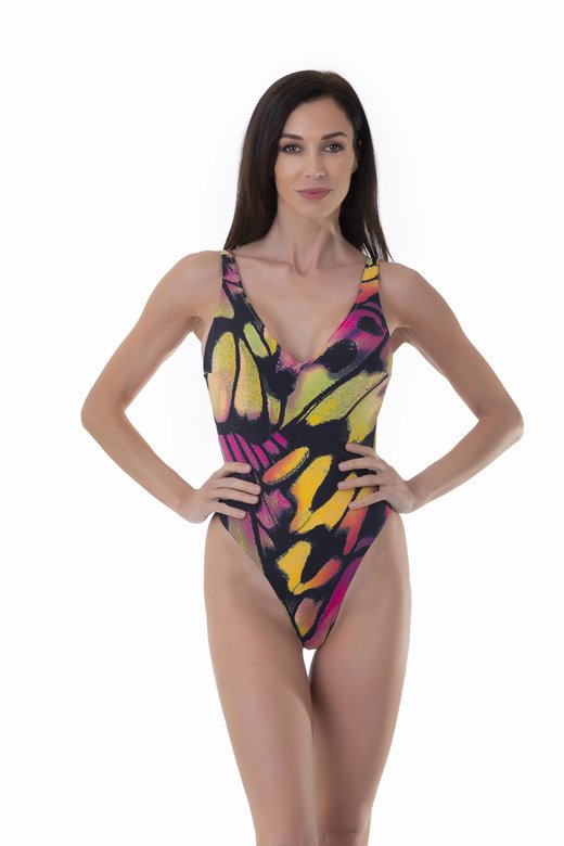 PRINTED ONE-PIECE WITH DEEP V-NECKLINE