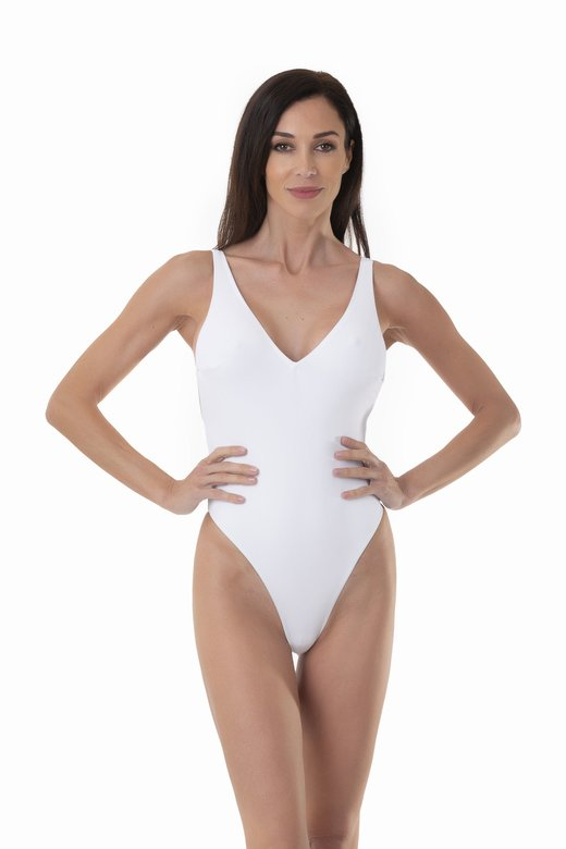 SOLID COLOUR ONE-PIECE WITH DEEP V-NECKLINE