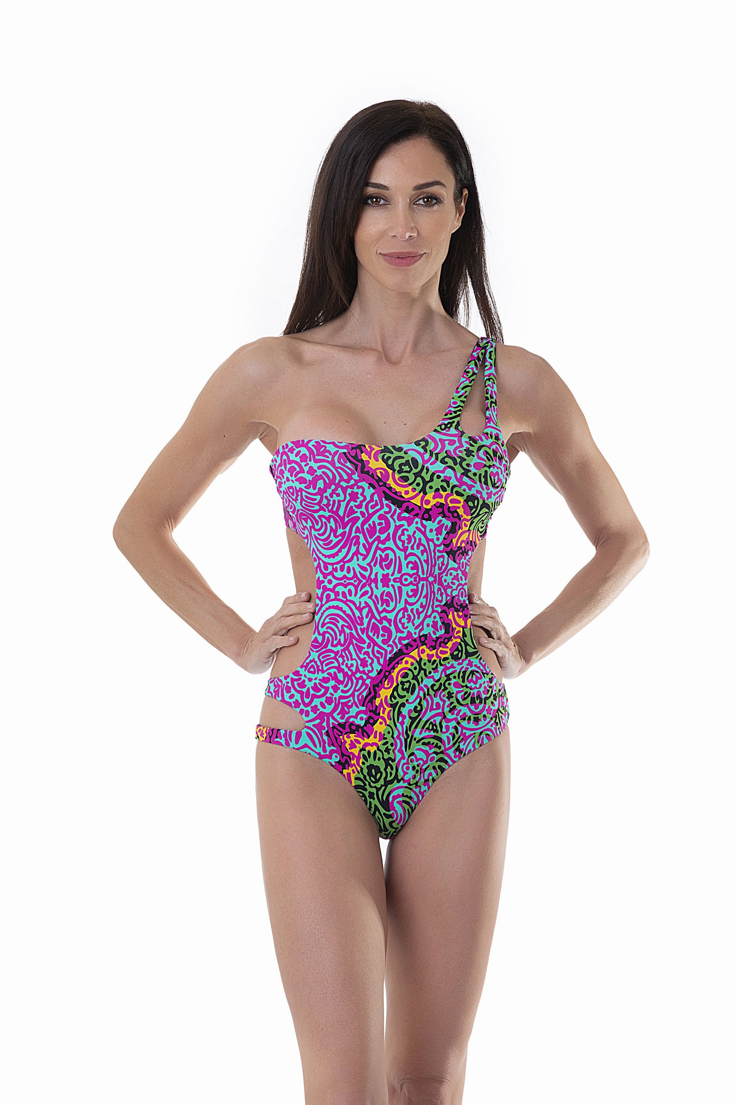 PRINTED ONE-SHOULDER ONE-PIECE - India Pop Fuxia