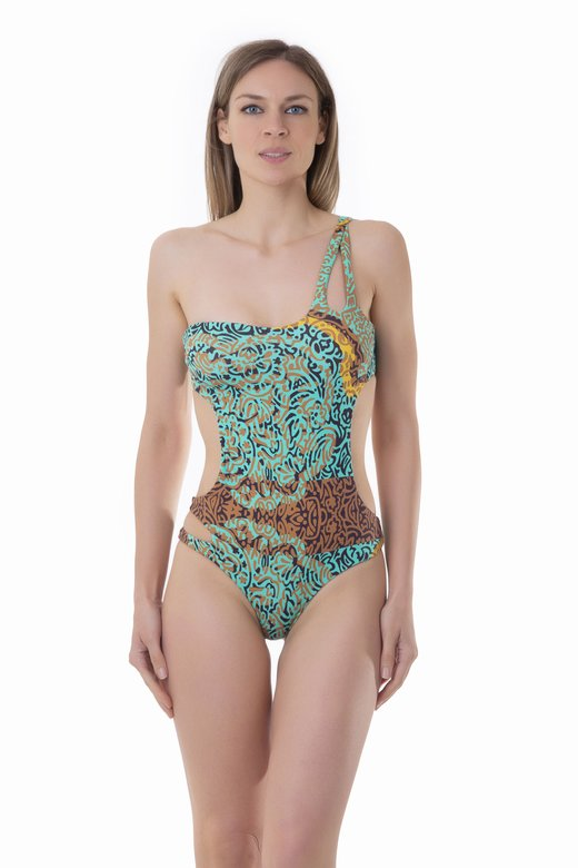 PRINTED ONE-SHOULDER ONE-PIECE - India Pop Marrone