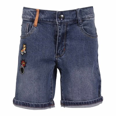 Blue stretch cotton denim shorts