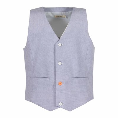 Light blue cotton vest jacket with satin insert