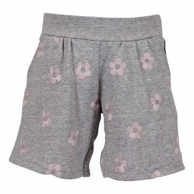 Shorts grigio melange in felpa di cotone con Iconiche margherite
