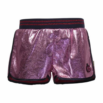 Shorts rosa in simil pelle lamé