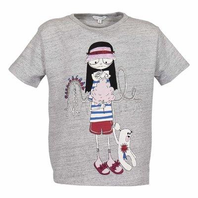 T-shirt grigio melange in jersey di cotone con dettaglio logo
