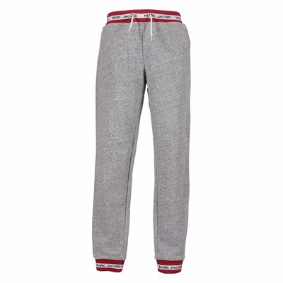 Pantaloni grigio melange in felpa di cotone