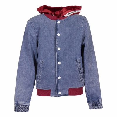 Blue stretch cotton denim jacket with contrasting hood