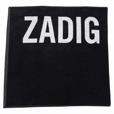 Zadig & Voltaire black cotton terrycloth beach towel