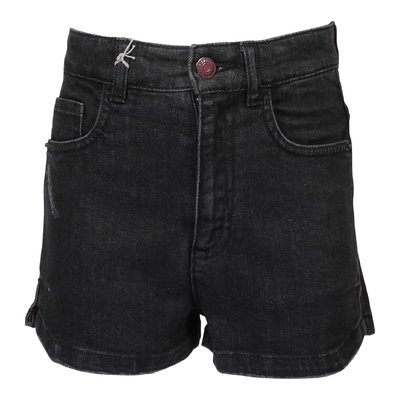 Shorts neri in cotone denim stretch effetto vissuto