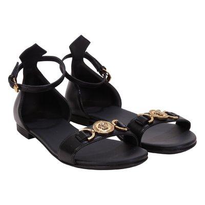 Black Medallion Medusa leather sandals
