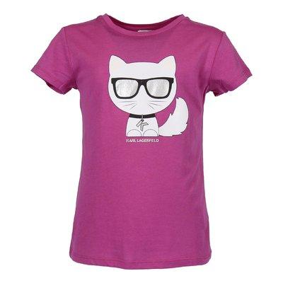 T-shirt fucsia in jersey di cotone con Choupette